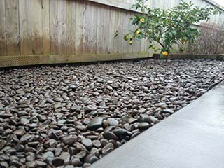 Landscaping with river stones.